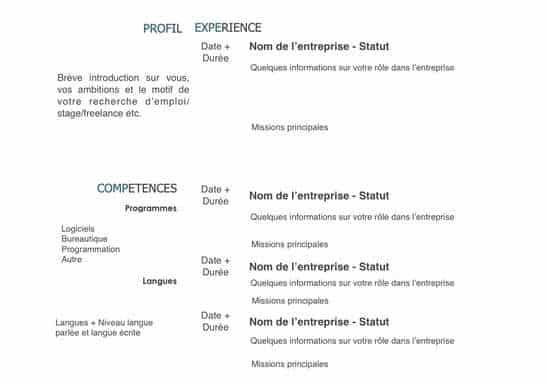 CV pour ingénieur contenu