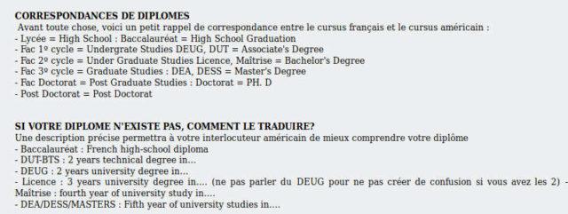 Équivalence diplômes France usa